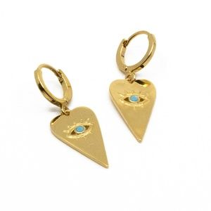 Jewelry - Gold (turq center) Evil Eye Heart Lever Back Hoops